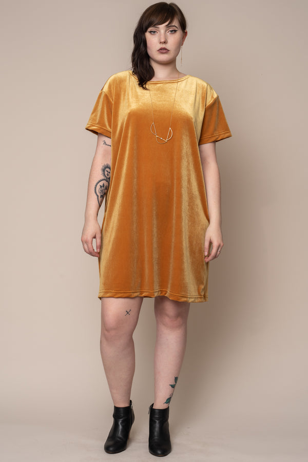Turmeric-Velvet-T-Shirt-Dress