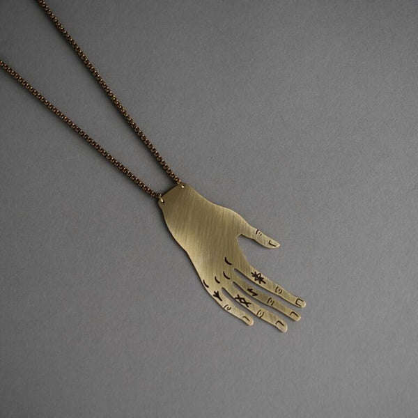 Tattooed Metal Hand Necklace