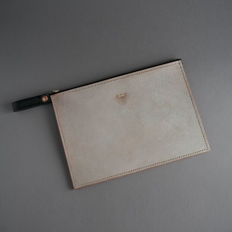 Hand Stitched Drop Clutch - Cream