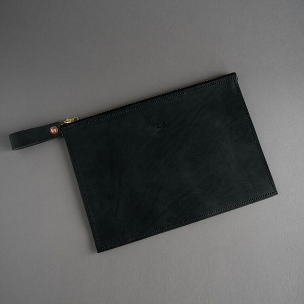 Hand Stitched Drop Clutch - Black