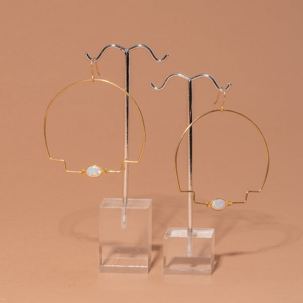 Brass Step Hoop Earrings with Opal