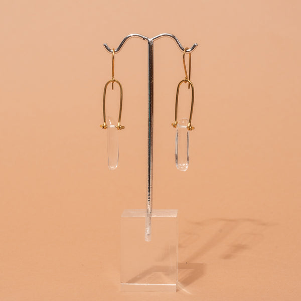 Clear Glass Stone Earrings
