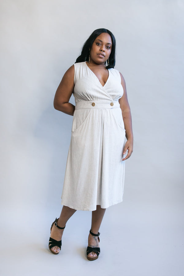 Winona Dress in Oat Linen