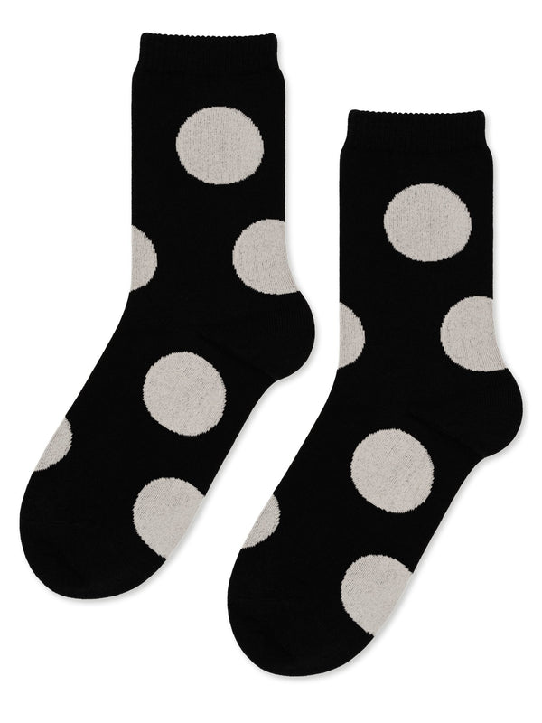Rie Crew Sock in Black with White Dot