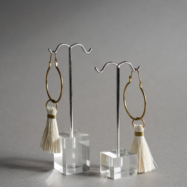 Brass and Cream Tassel Earrings