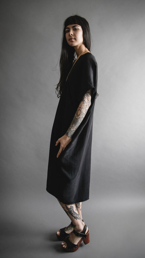Black Silky Cupro Tunic Dress, Apparel, Altar Houseline - Altar PDX