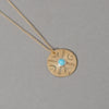 Brass Stamped Round Pendant Necklace with Stone