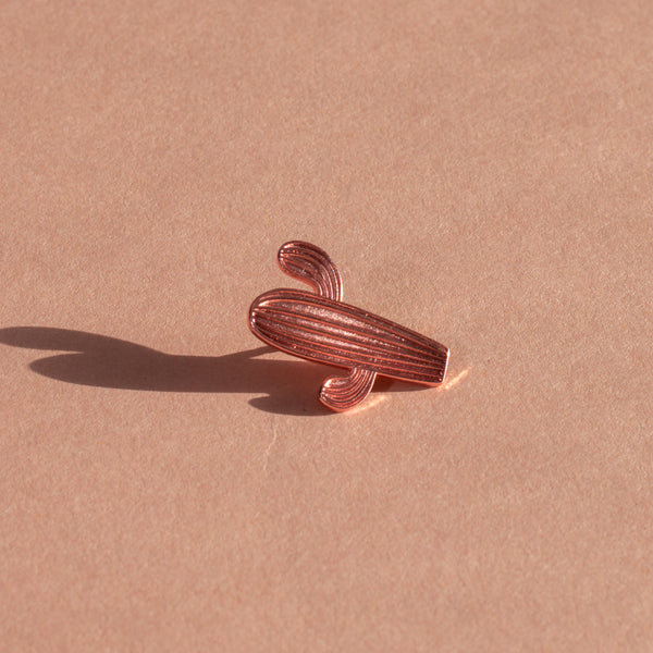 Rose Gold Cactus Lapel Pin