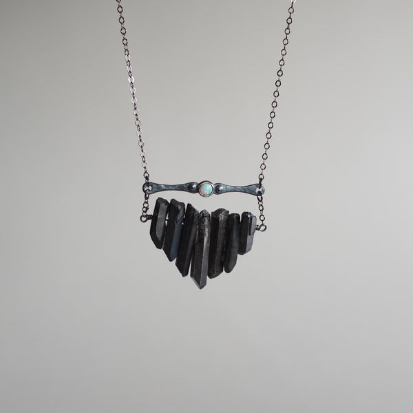 Black Multicrystal Necklace with Flashy Opal