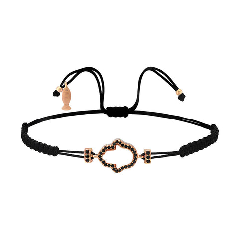 Mother Of Pearl Hamsa Bracelet With Macrame String (Natural Black Spinel Stones)(Light Color MOP)
