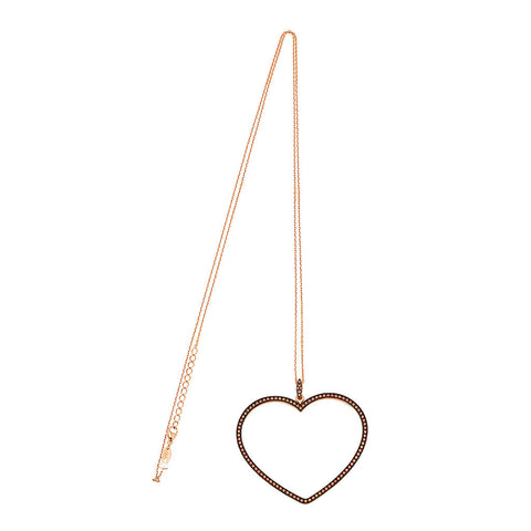 Big Heart Necklace With 70 cm Chain (Smoky CZ Stones)