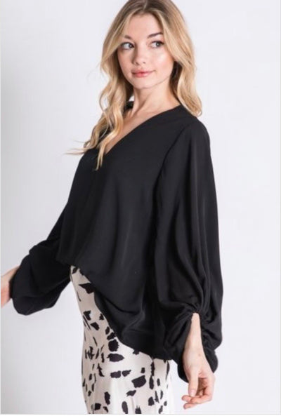 Black Balloon Sleeve Blouse