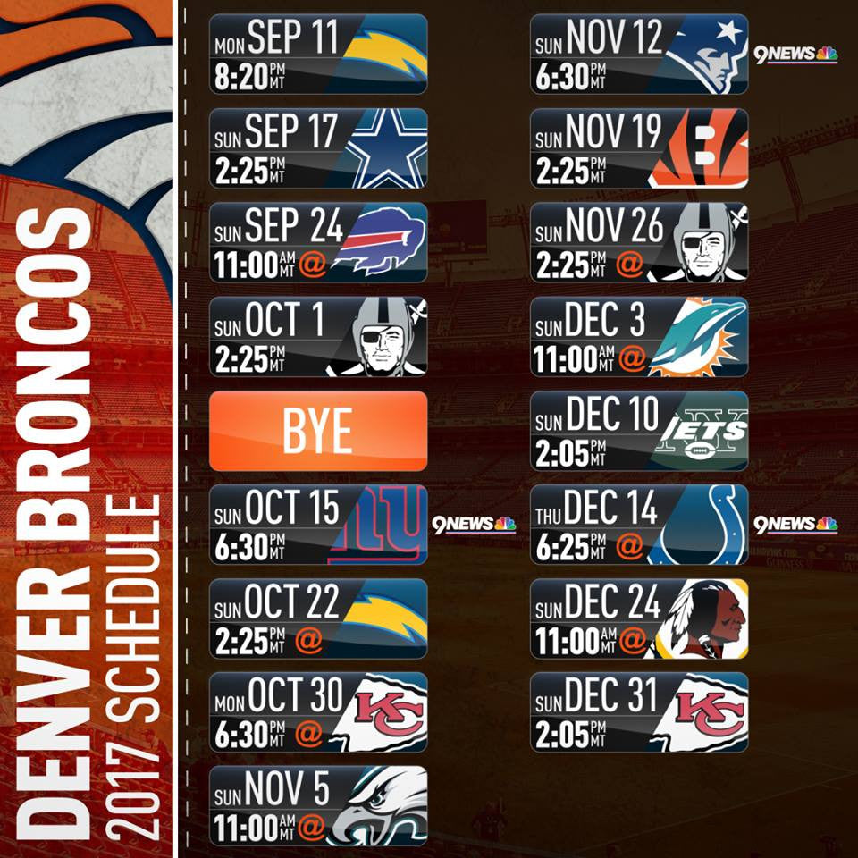 Denver Broncos 17-18 schedule