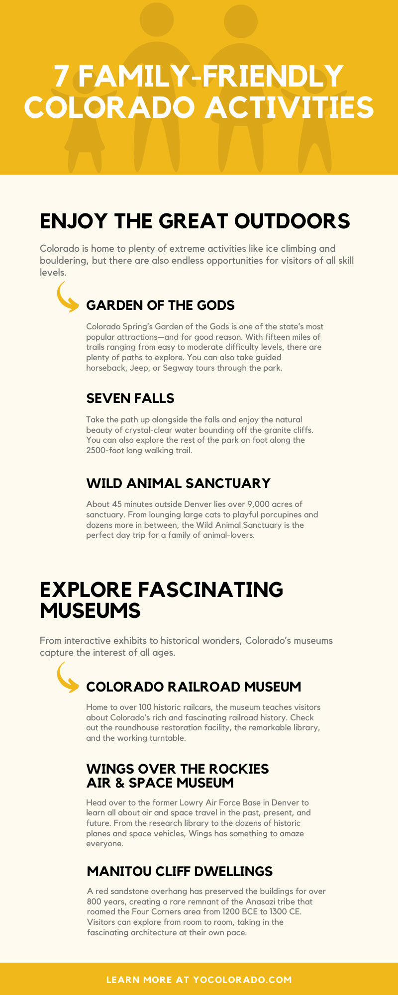 7 Family-Friendly Colorado Activities infographic