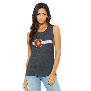 Classic Colorado Flag Ladies Flowy Muscle Tank Top