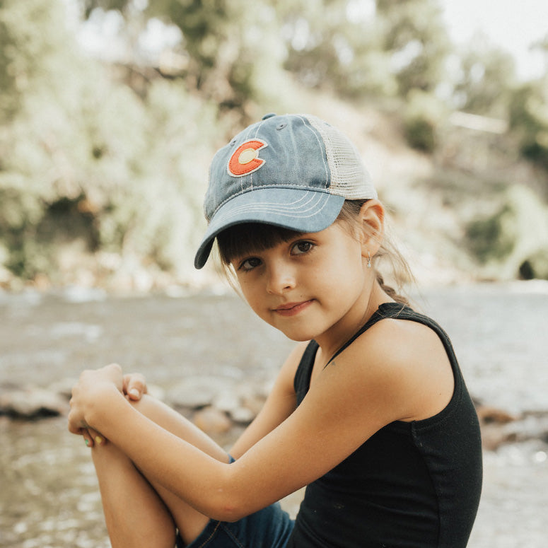 Kids' Vintage Denim C Trucker Hat