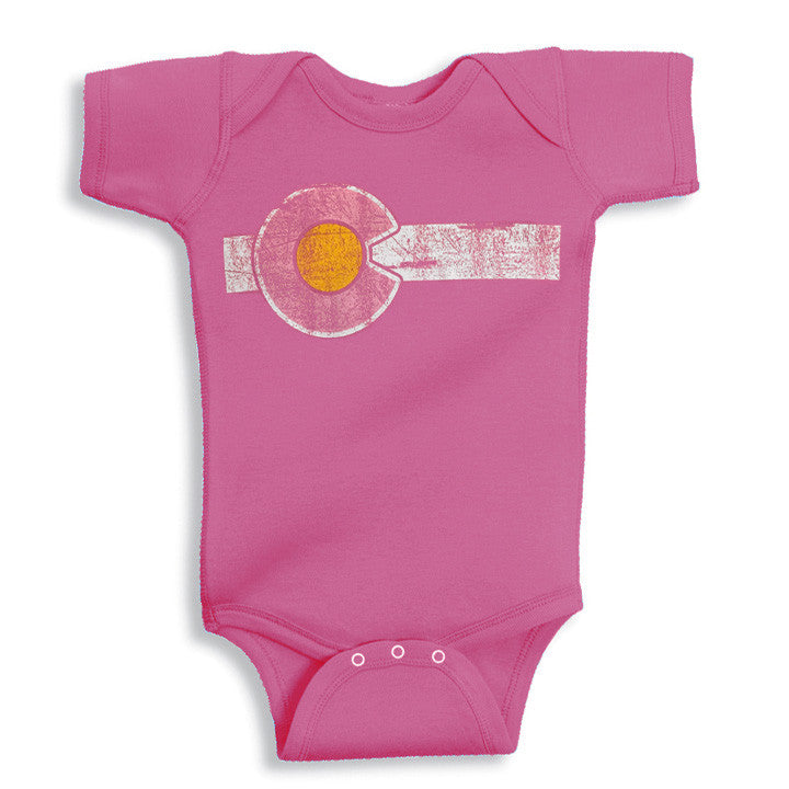 Colorado Flag Baby Onesie - Pink