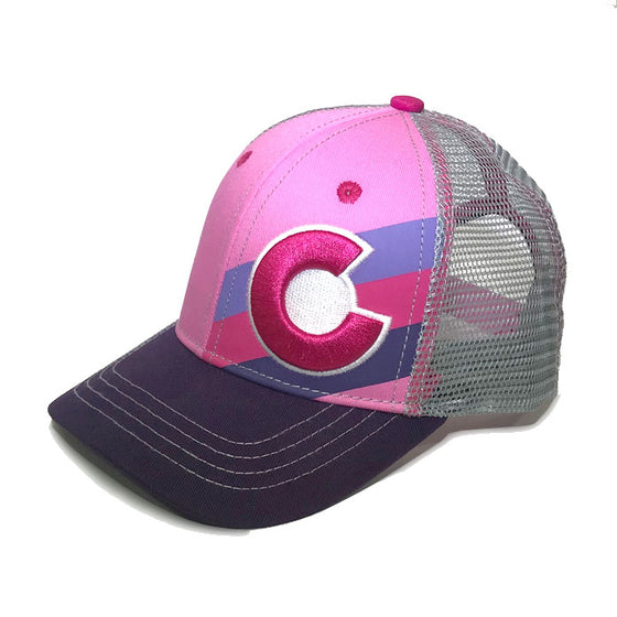 KIDS PINK BERRY INCLINE TRUCKER HAT