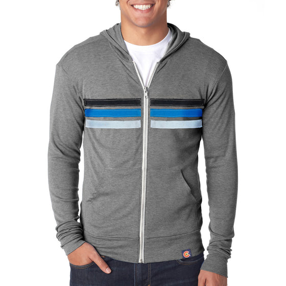 Upcycled Cool Dayz Zip Hoodie - Heather Grey - Blue Stripes