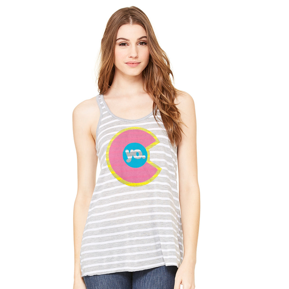 Striped Feel the Glow Flowy Tank Top