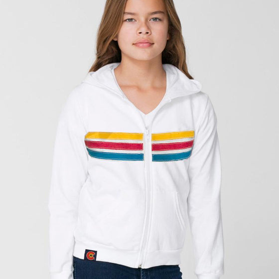 Upcycled The Bliz Junior Fit Zip Hoodie - White