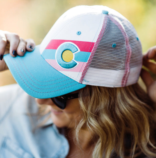 Incline Colorado Trucker Hat - White/Turquoise