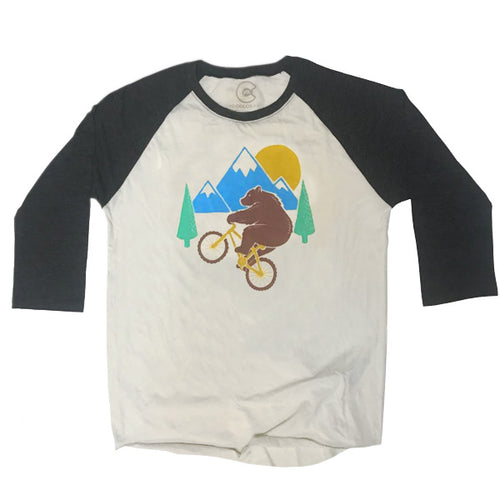 Wheelie Bear Mountain Bike Raglan T-Shirt
