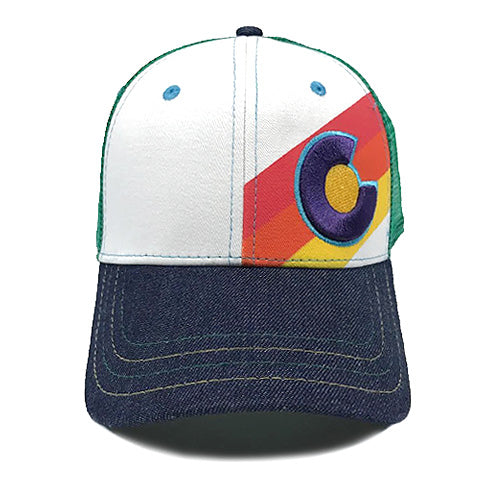 Incline Colorado Trucker Hat - Rainbow Denim