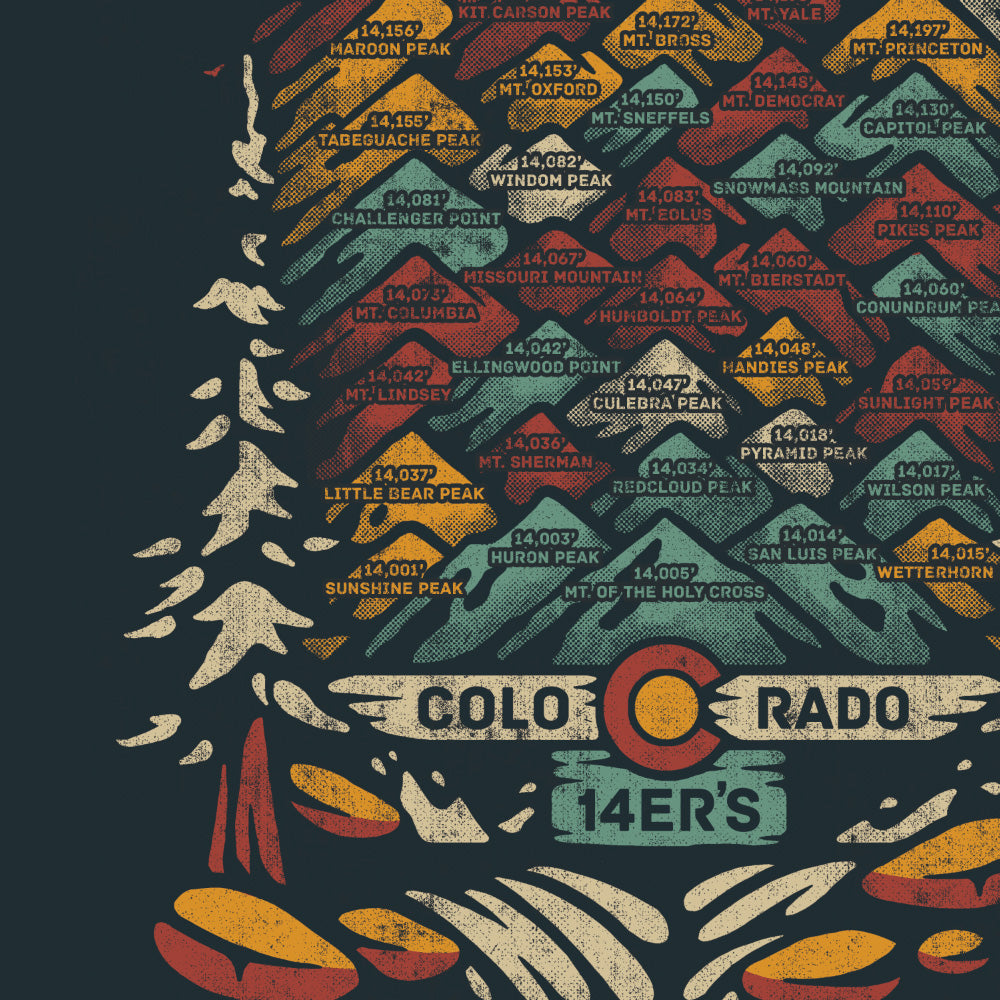 Limited Edition Colorado 14ers Hand Printed Poster