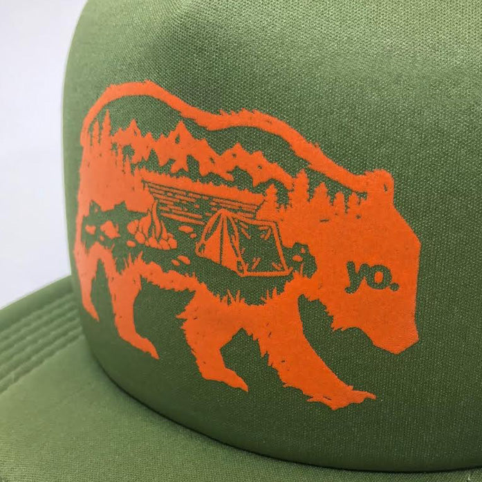 The Wanderer Bear Trucker Flat Bill Hat