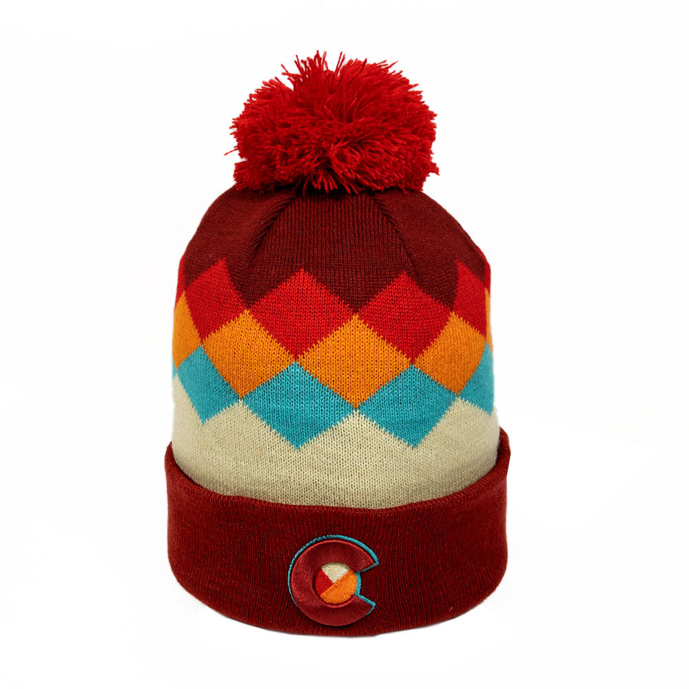 Red Argyle Colorado Mountain Rainbow Beanie