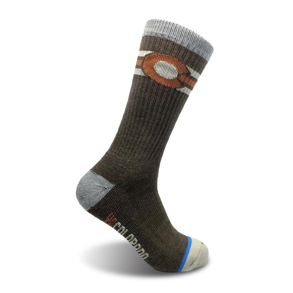The Chaffee Yo Colorado Flag Wool Socks - Brown / Orange