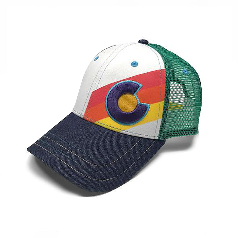 Kids Incline Colorado Trucker Hat - Retro - Rainbow/Denim