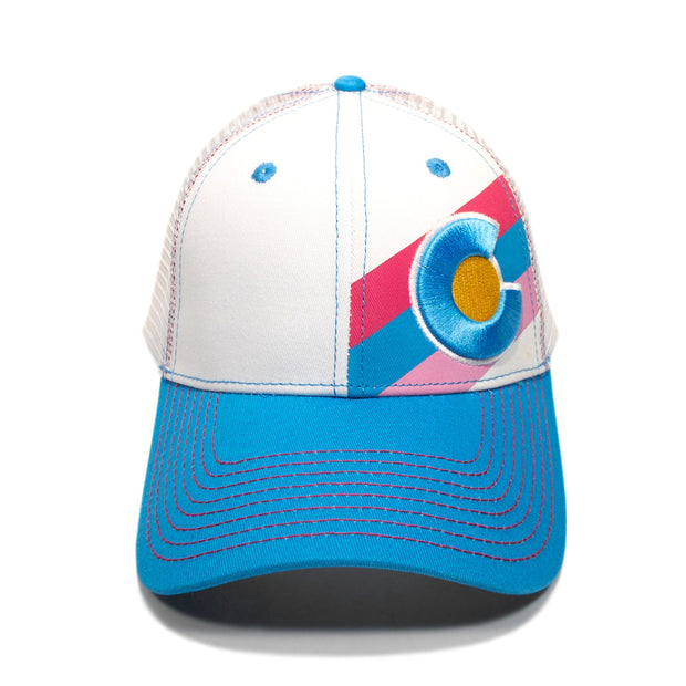 Incline Colorado Trucker Hat - White/Turquoise 1