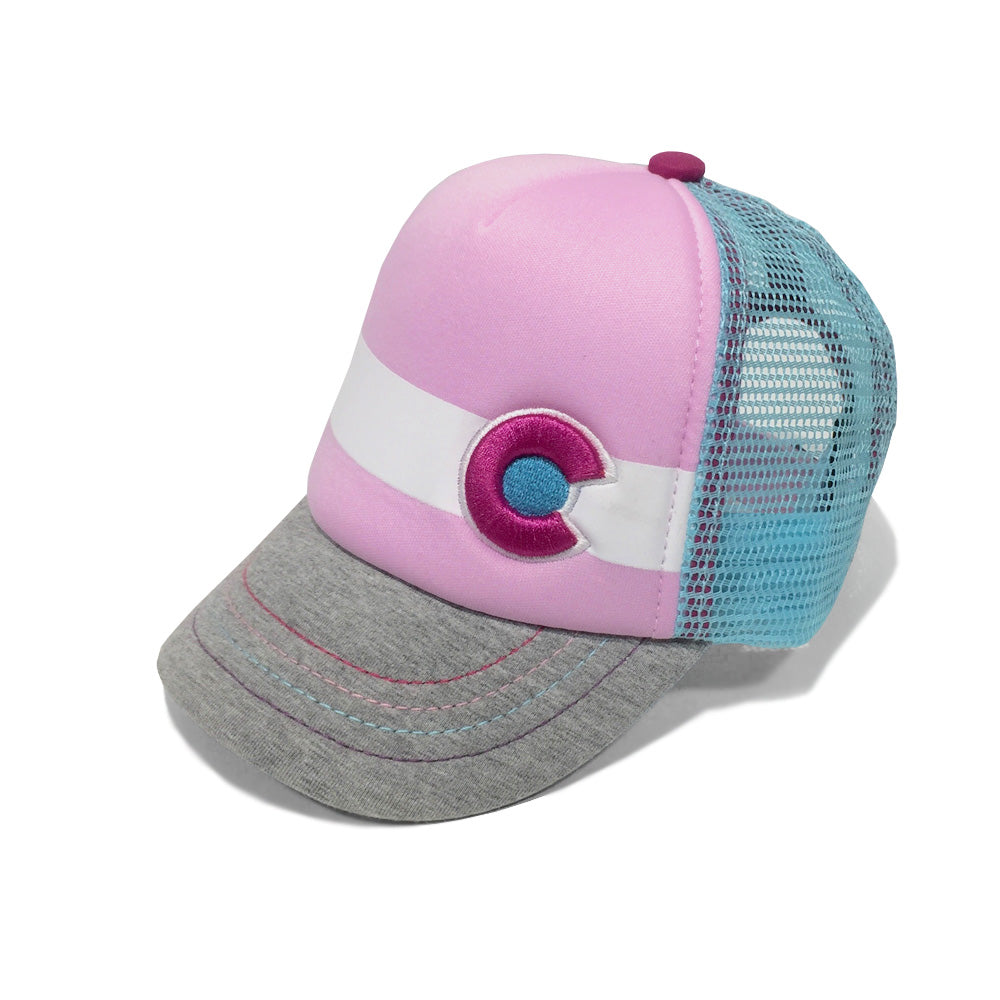 Lil Nugget Baby Trucker Kids Hat Pink Grey