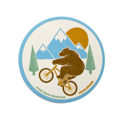 Wheelie Bear Mountain Bike Sticker