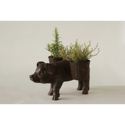 Resin Pig Carrying Baskets Planter/Container