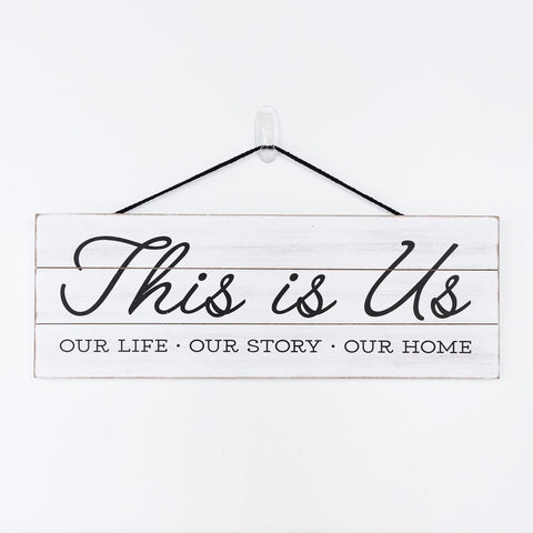 """This is Us"" Hanging Wood Sign"