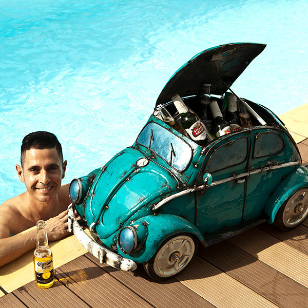 VW Beetle Handmade Recycled Metal Beverage Cooler