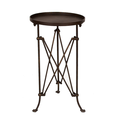 "14.25"" Round Tray-Style Metal Accent Table"