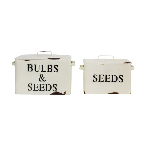 "Decorative Metal ""Bulbs and Seeds"" and ""Seeds"" Boxes with Lids (Set of 2 Sizes)"