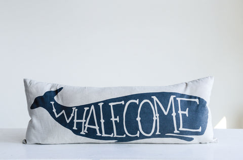 "White Rectangle Cotton Pillow with Blue ""Whalecome"""