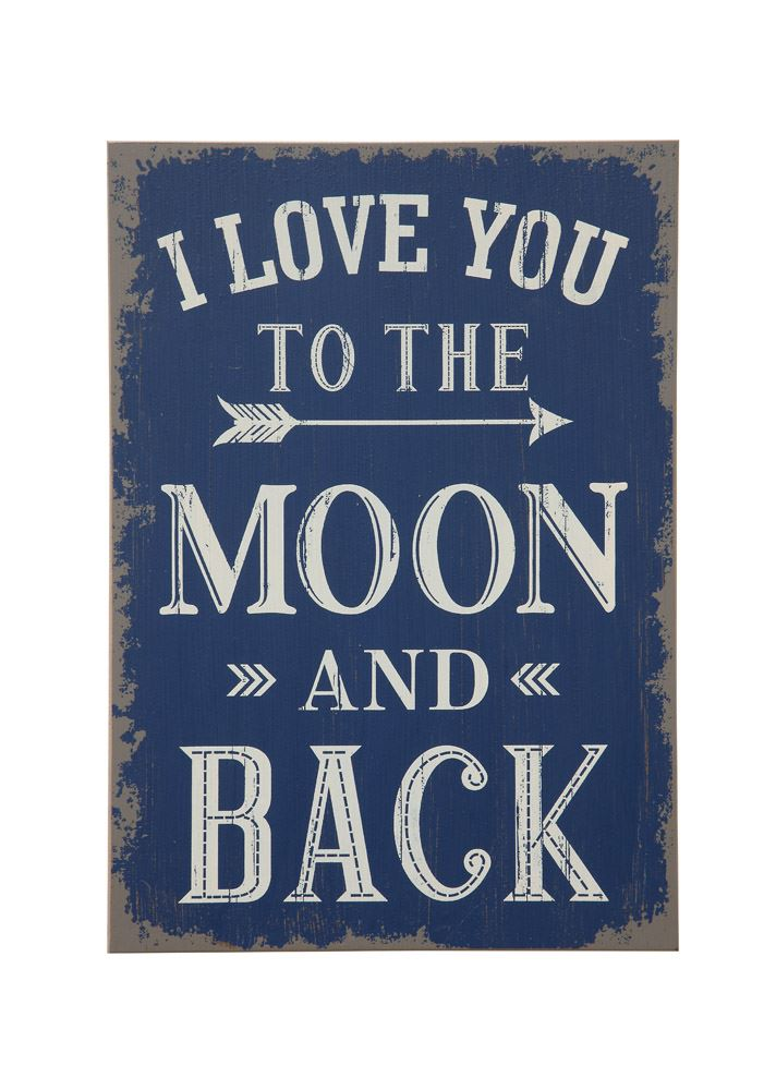 """Love you to Moon"" Distressed Sign"