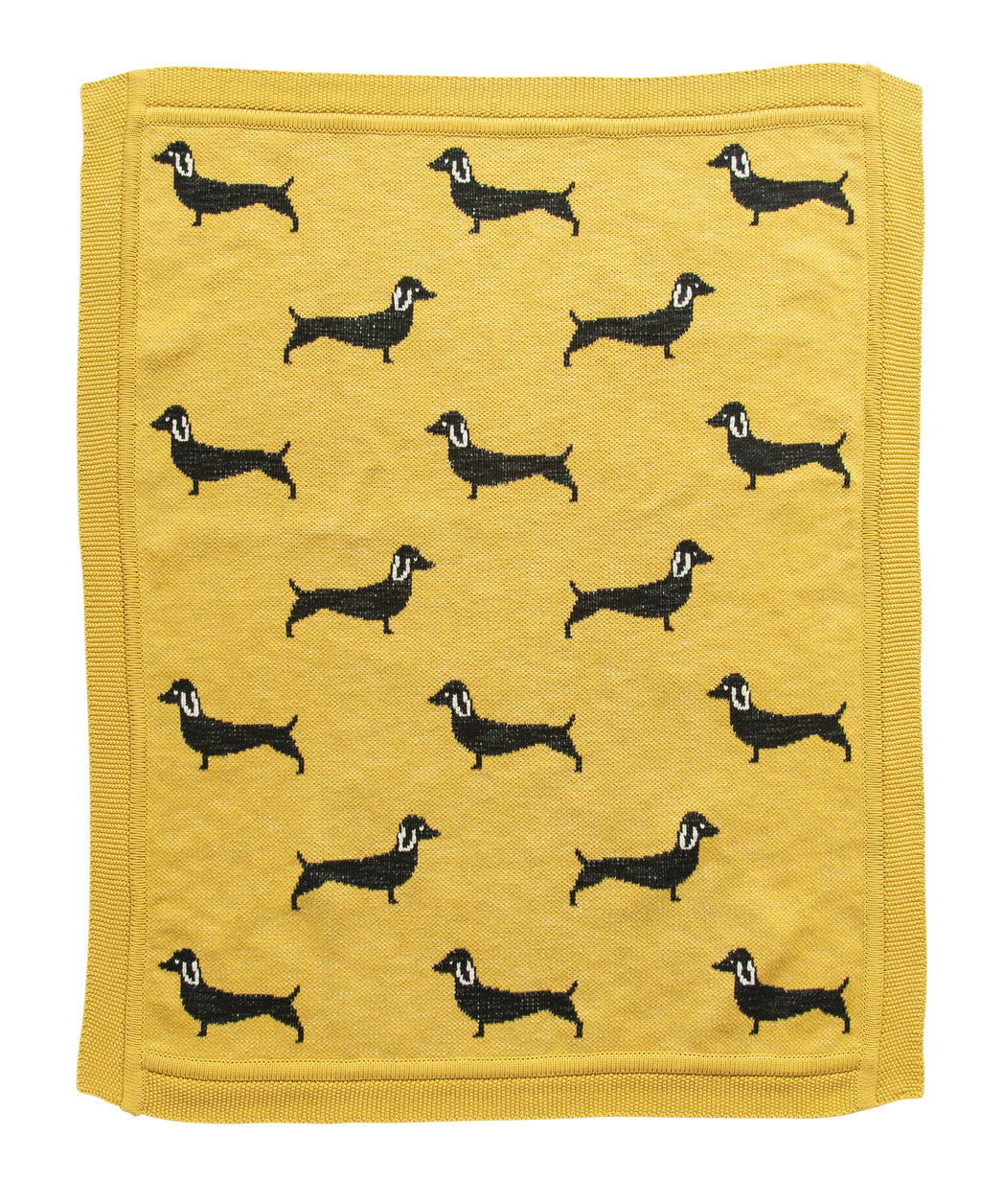Chartreuse Cotton Knit Baby Blanket with Black Dachshund Dogs