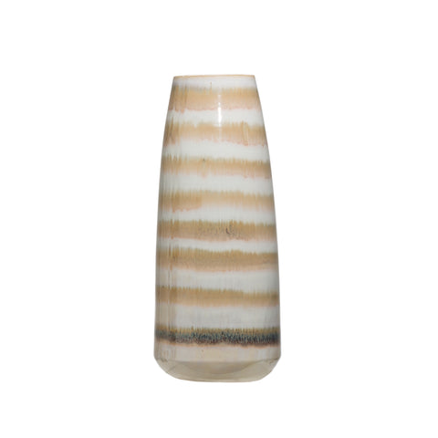 Brown and Cream Striped Stoneware Vase and Reactive Glaze Finish (Each one will vary)