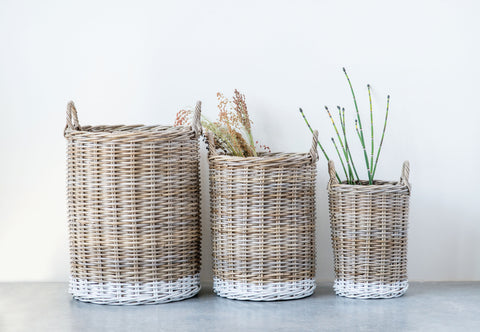 Beige Rattan Baskets with White Dipped Base and Handles (Set of 3 Sizes)
