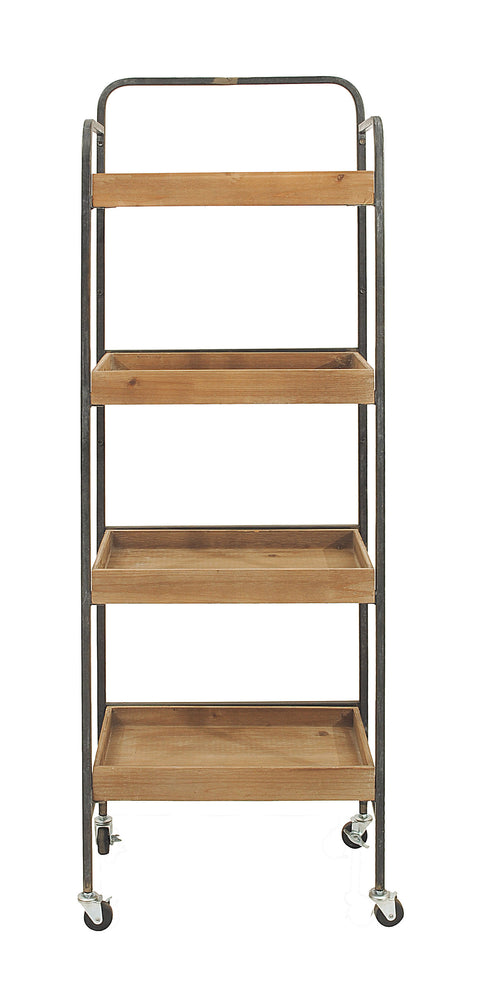 Metal and Wood 4 Tier Rack on Caster Wheels