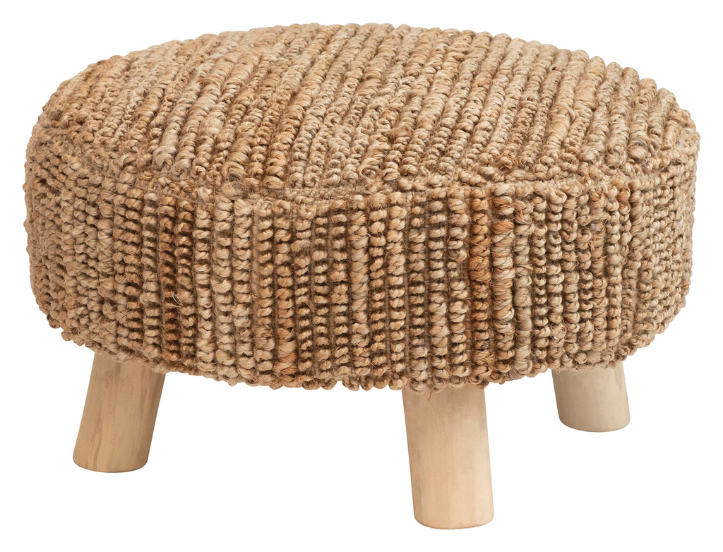 "13""H Woven Jute Stool with Mango Wood Legs"