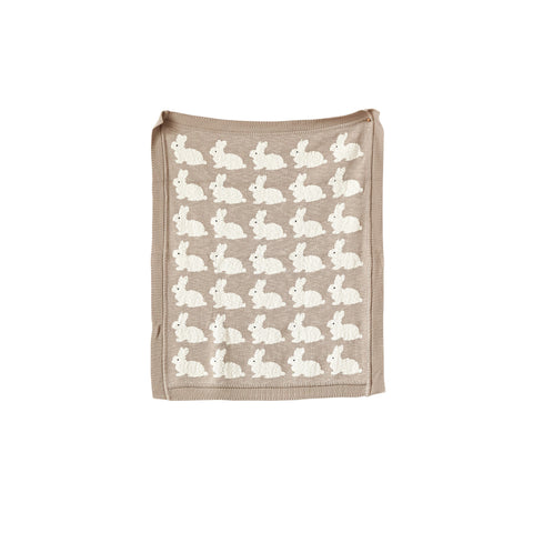 Grey Cotton Knit Rabbit Blanket