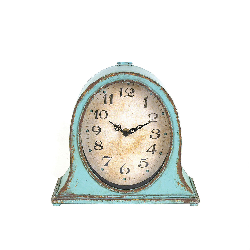 Metal Mantel Clock with Aqua Finish